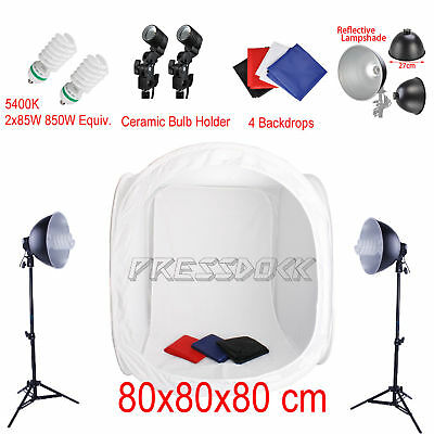 Photo Studio Shooting Photography Lighting Stand Kit with 80cm Box Tent Cube AU