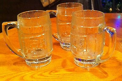 3 Vintage DAD'S old fashioned ROOTBEER heavy glass Mugs