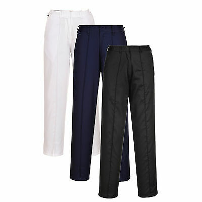 Ladies Elasticated Work Trousers Pants Sewn in Crease Security Workwear XS - 3XL