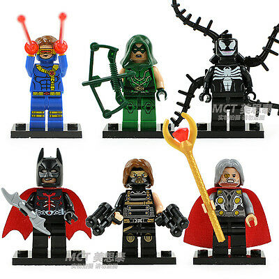 6 Sets Building Toys Super Heroes Series Minifigures Green Arrow Blocks Toys #S5