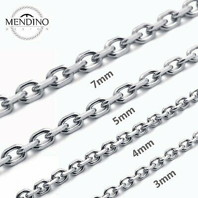 """MENDINO Men's 316L Stainless Steel Necklace O Chain 3mm-7mm Silver Tone 18""""-30"""""""