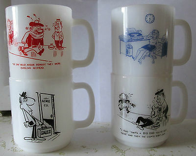 4 VINTAGE RETRO FUNNY SAYINGS GLASBAKE ? STACKING  MUGS NOT FIRE KING CURLING