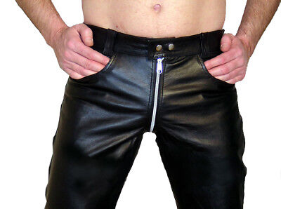 Shop For Cheap Lederjeans 62 Gay Lederhose W46 Durchge Men's Clothing Zip Leather Trousers Pants 46 Unlined For Sale