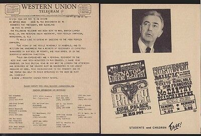 1968 Eugene McCarthy Telegram To Poor Peoples Campaign-Ralph Abernathy Mrs MLK