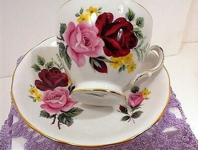 Vintage Cup Saucer Queen Anne Bone China England D765 Ridgway Red Roses Pink Tea