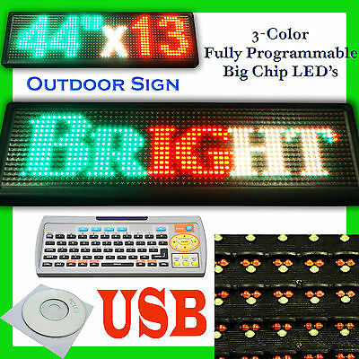 "44x13"" Programmable LED sign Scrolling Message Board Open Outdoor 3 color USB"