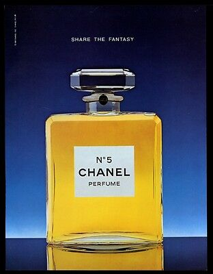 1981 Chanel No.5 perfume classic bottle color photo vintage print ad