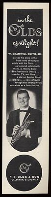 1958 W Branwell Smith photo Olds trumpet vintage print ad