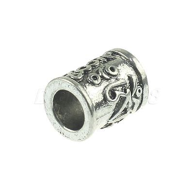 Unique Silver Metal Tube Column Carved Pendant Bead for Paracord Knife Lanyard