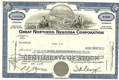 Share Certificate Great Northern Nekoosa Corp. 1977  Issued in State of Maine