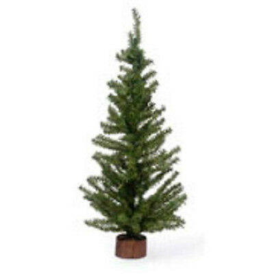 24 Inch Green Artificial PINE CHRISTMAS Tree Wood Base Mini Miniature Craft NEW