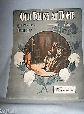 OLD FOLKS AT HOME, 1907 Piano Solo & DRUMHELLER Variations, BLACK AMERI, Stamer