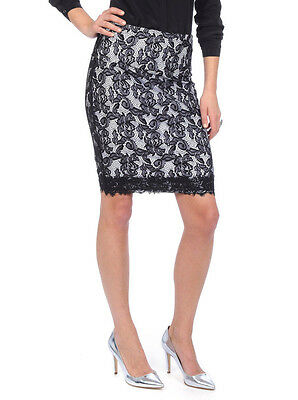 Sexy LYSSE Tummy Control LACE OVERLAY PENCIL SKIRT Women S BLACK / WHITE New NWT