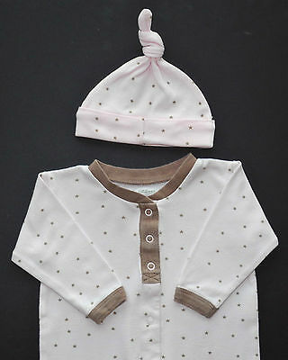 Boutique ZZZ by Coccoli Baby Girl pink brown star footy sleeper & knot hat 3m