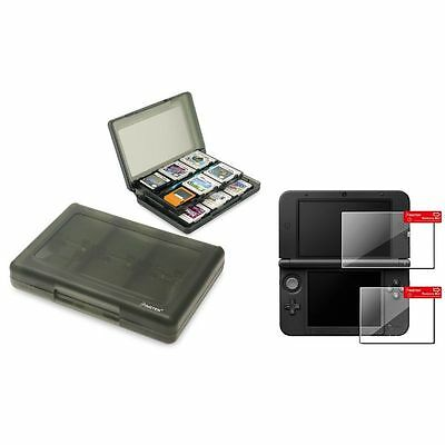 Smoke 24-in-1 Card Case+Top+Bottom LCD Film Screen Protector For Nintendo 3DS XL
