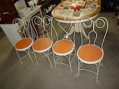 Vintage Ice Cream Parlor Chairs Set Of (4) Wrought Iron Orange Round Seat