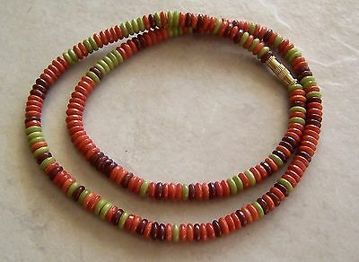 "16"" Strand Small Dyed Bone Rondelle Beads 5mm Orange Brown Green Autumn Mix"