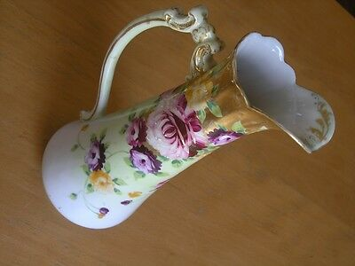 Early Antique Unsigned Early Dresden Ewer Floral Rose Ornate Giltwork Early 19 C