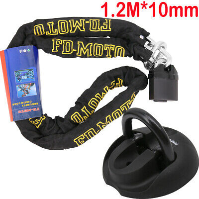 Motorbike Lock 1.2M/10MM Heavy Duty Motorcycle Chain Lock + Oxford Ground Anchor