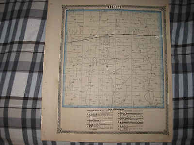 Antique 1875 Ohio Township Limerick Bureau County Illinois Map Berlin Princeton
