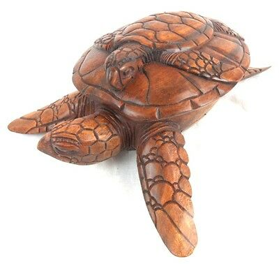 Large Hand Carved Mahogany Wood Sea Turtle Stash Bowl Box With Lid Sculpture Mom