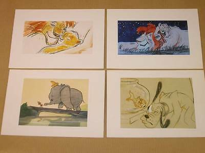 Lot 4 Cartes Postales Disney / Roi Lion + Dumbo + Dingo / Rare / Tres Bon Etat