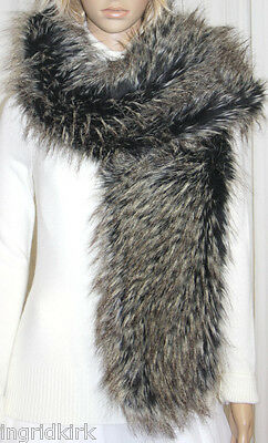 Brown Wolf Faux Fur Wrap Scarf And Matching Muff Nwt !