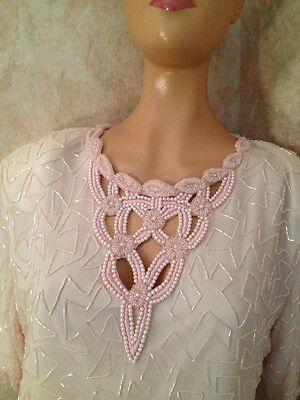 New Years Flapper Style Beaded Dress Large Formal Gown Pink Silk Trophy 80s