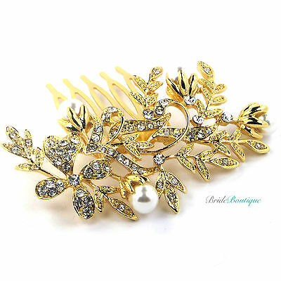 NEW Vintage Flower Crystal & Pearl Small Wedding Bridal Hair Comb Slide - Gold