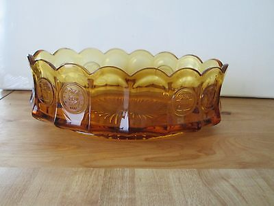 Vintage Amber Fostoria Glass 9 Inch Oval Coin Dish Footed Bowl
