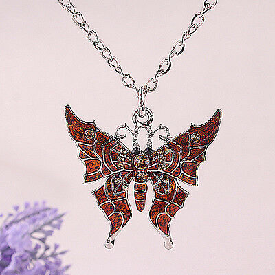 Women New alloy Austrian Crystal butterfly Pendant Necklace B060