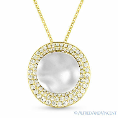 0.50ct Round Cut Diamond Pendant & Chain Necklace 2-Tone 14k Yellow & White Gold