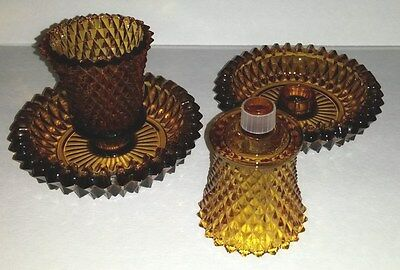 4 Piece Vintage Amber Brown Pressed Diamonds Glass Candle Votives And Holders