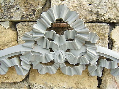 STUNNING OLD FRENCH WOOD PEDIMENT PAINTED GRAY CORNICE LOUIS XVI RIBBON CARVED