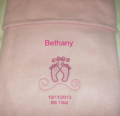 Personalised Baby Blanket Baby Feet Embroidered Design, Pink. Newborn. Gift ~