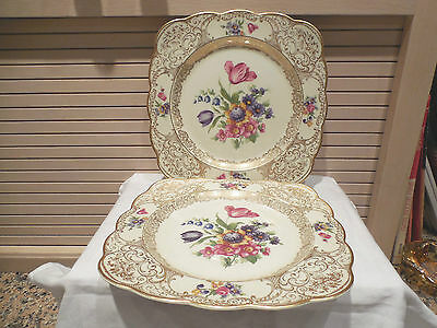 Pair Of Royal Bayreuth Square Luncheon Plates--Gold Trim & Flowers