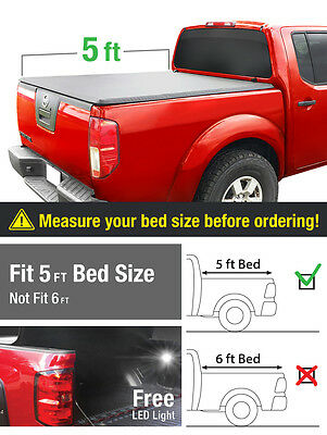 Premium Fits 05-16 Frontier/09-14 Equator 5ft/60in Bed Tri-Fold Tonneau Cover