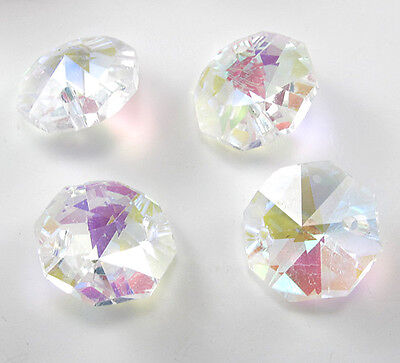Hot Lot 50X AB Crystal Faceted Chandelier Prism Lamp Glass Beads 14MM 2 Holes