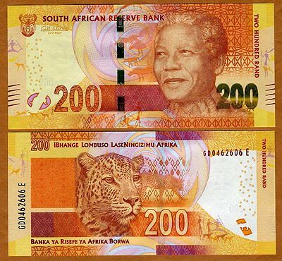South Africa, 200 rand, ND (2012) (2014 Omron), P-137-New UNC   Mandela, Leopard