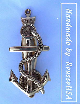 Nautical:  Polished Nickel over Solid Brass—Anchor Door Knocker-New—Front Mount