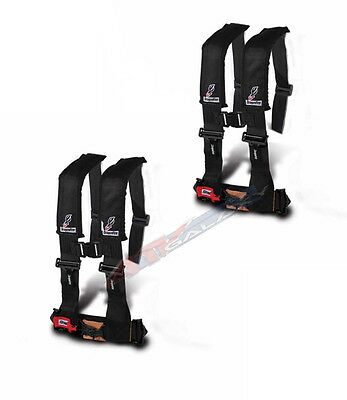 """Dragonfire DFR Safety 4 Point PAIR Harness 3"""" H Style BLACK RZR4 XP900 4 XP1000"""