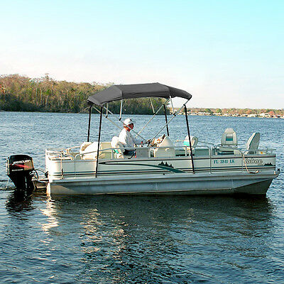 """NEW GRAY BIMINI TOP KIT WITH MOUNTING HARDWARE - 8'L 4-BOW COVER 61""""-66"""" WIDTH"""