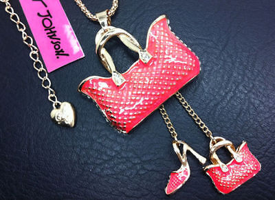 NEW Betsey Johnson Pretty funny bags heels crystal necklace N029