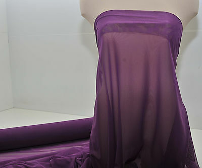 Power Mesh Stretch Fabric Plum  Dance  Pageant Costume Home Decor 1 Yd Choice