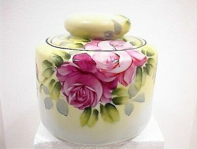 VINTAGE HAND PAINTED JAPAN LIDDED COVERED JAR WHITE PINK ROSES COOKIE CANDY