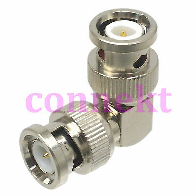 1pce BNC to BNC male plug in series right angle RF adapter connector 90° elbow