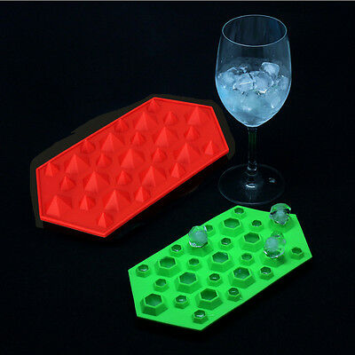 Silicone 27-Cavity 3D Diamond Gem Party Bar Ice Cube Chocolate Mold Mould Tray