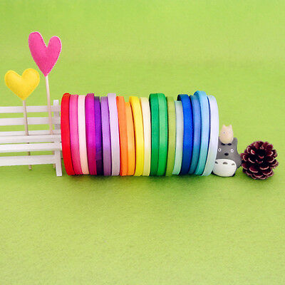 "New 1/4""(6mm) 25 yds satin ribbon wedding craft sewing decorations many colors"