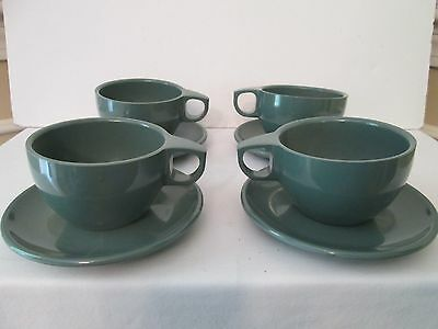 Watertown Lifetime Ware Melamine Melmac Green 4 Cup and Saucer sets