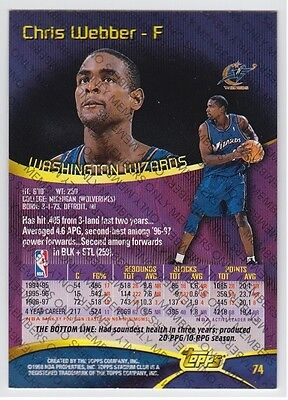 1997-98 STADIUM CLUB MEMBERS ONLY CHRIS WEBBER #74 RARE VERY LIMITED